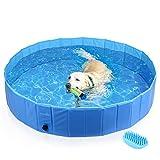 Pecute Hundepool, Katzenpool,Swimmingpool,Planschbecken, Schwimmbad, Hundebadewanne, Faltbarer Pool, PVC-Rutschfest, Verschleißfest, Für Den Hund Katze,L (160 * 30cm)
