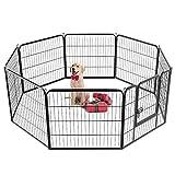 Yaheetech 8-TLG Welpenlaufstall Freilaufgehege Welpenauslauf Hundelaufstall Tierlaufstall für Kleintiere, mit Tür, je Panel ca. 80 x 80cm