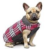 IREENUO Hund umkehrbar Schottenkaro Mantel Herbst Winter warme gemütliche Weste britischen Stil Hund gefütterte Jacke für Kleine mittlere große Hunde (XS,Rot)