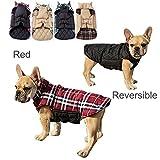 Haustier Hund Plaid Jacke Hoodie Mantel Pullover Schneefest Kleidung Herbst Winter Kleidung Warm Gepolsterte Wendeauflage Apparel Weste Kleidung Hunde mantel Brustschutz für kleine Hunde(XS,Rot)