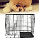 Burrby Pets Hundekäfig, 2Türen, 2Zusammenklappbarer Käfig Welpen Training Metall Koffer, ABS-Kunststoff Tablett Abnehmbar, 60* 43* 52cm Schwarz