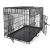 SONGMICS L Hundekäfig faltbar Käfig mit 2 Türen 1 x herausnehmbare Kunststoffwanne schwarz 75 x 54 x 47 cmPPD30H