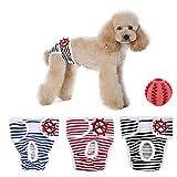 Shuibian 3er Pack Einstellbare und Waschbare Hundewindeln Hund Hygieneunterhose mit Freie Hundezähne die Kugel säubern waschbar Werke für Kleine bis Mittlere Hündchen (m)