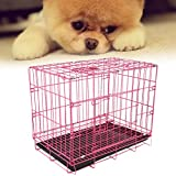 Burrby Pets Hundekäfig, 2Türen, 2Zusammenklappbarer Käfig Welpen Training Metall Koffer, ABS-Kunststoff Tablett Abnehmbar, 51* 37* 10cm Pink