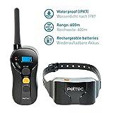 PetTec Remote Vibra Trainer Advance, Erziehungshalsband mit 16 Vibrationsstufen und Tonsignal, inkl. Fernbedienung 600m Reichweite, aufladbarer Akku, wasserdicht IPX7