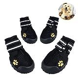 Petacc 4Pcs Hunde Schuhe Breathable Hundeschuhe Rutschfeste Schuhe für Hunde Stiefel für Hund Pfotenschutz Hund (Schwarz - 5)