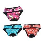 UEETEK 3 Pcs Hundewindeln Inkontinenz einstellbar und waschbar Hundeschutzhose für Hündinnen Baumwolle Unterwäsche Größe XL