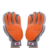 Königsherz Fellpflege Handschuh 2er-Set | Bürste; Striegel für Tierhaarentfernung (grau/orange)