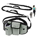 Pecute Joggingleine für Kleine Hunde, Jogging Hundeleine für große und mittelgroße Hunde, Elastische und reflektierende Laufleine, freihändige Leine mit Gürteltasche