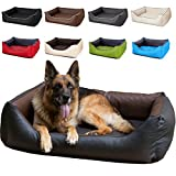Hundebett Rocco 110 x 90cm, Braun-Schwarz, 2in1 Hundeschlafplatz komplett aus Kunstleder, Hundematratze aus Schaumstoff-Flocken
