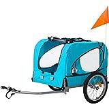 Merax Fahrradanhänger Hundeanhänger Hunde Fahrrad Tier Anhänger mit Universalkupplung von Flieks (Blau, 1)