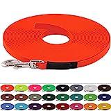 LENNIE BioThane Schleppleine 13 mm breit, 25 Farben/Neon Orange, 1-30 Meter / 5 m, genäht