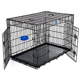 SONGMICS Hundekäfig Hundebox Transportbox Drahtkäfig Katzen Hasen Nager Kaninchen Geflügel Käfig schwarz XXXL 122 x 81 x 76 cm PPD48H
