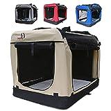 Hundetransportbox faltbar Transportbox für Hunde Hundebox Auto - Dogi Kennel - 6 Größen - 4 Farben (XL (81 x 58 x 58 cm), Beige)