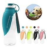 Petilleur Hund Wasserflasche Reise Tragbar Hund Trinkflasche Unterwegs in Silikon für Outdoor (Blau)