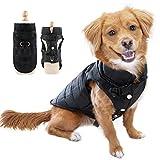 Eastlion Winter Hundemantel Warm Wasserdicht Hundejacke Welpen Hunde Weste Bekleidung Kleidung mit D-Ring,Schwarz,Größe M