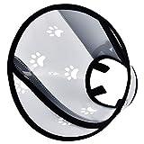 Furpaw Halskrausen Hunde, Schutzkragen für Haustiere Elisabethanischer Kragen mit Klettverschluss, Halsband in Transparent Kunststoff (L, 38,5-50cm)