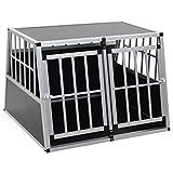 yorten Hunde Transportbox für Auto, mit Doppeltür Hundebox Autobox Hundetransportbox Alubox Hund Reisebox Silber 94 x 88 x 69 cm (B x T x H)