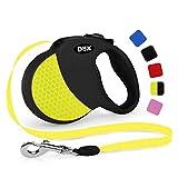 DDOXX Roll-Leine reflektierend, ausziehbar | viele Farben & Größen | für kleine & große Hunde | Gurt-Leine Hundeleine einziehbar Welpe Katze | Hundeleinen Zubehör Hund | XS, 3 m, bis 8 kg, Gelb