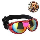 Pssopp Hunde Sonnenbrille Winddicht UV Schutz Hundebrille UV Schutzbrille mit verstellbarem Band für mittelgroße und große Hunde(Rot)