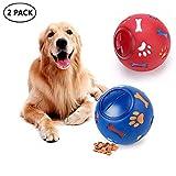 LEMON PET Hundespielzeug, Futterspender für Welpen, IQ Leckerlis, interaktives Hundespielzeug, verstellbare Öffnung, Bälle für kleine mittelgroße und große Hunde, L, blau/rot