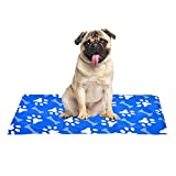 XIAPIA Kühlmatte für Hunde Kühldecke Ungiftig Gel Matte, Druck Aktiviert Selbstkühlende Decke für Welpe Katzen Innen&Draußen im Heißen Sommmer Blau (L(50*90))