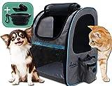 dainz® NEU! Einzigartiger Hunde-Rucksack für kleine Hunde bis ca. 7kg inkl. Anschnallgurt & Zubehör | Katzen-Rucksack mit kratzfesten PVC Netzen | Rucksack für Hunde, Katzen, Kleintiere, etc.