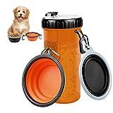 Aujelly Wasserflaschen für Hunde mit 2er Silikon Faltschüsseln, 2-in-1 Haustier Trinkflasche und Futterbehälter für Unterwegs, Tragbare Hunde Reisenäpfe 420ml für Gehen, Wandern&Reisen