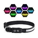PcEoTllar LED Leuchthalsband Hunde Halsband USB Wiederaufladbar Wasserdicht 7 Farbwechsel Halsband Hund Klein Groß Mittel Super Helle Sicherheit für Die Nacht - Schwarz - L