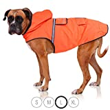 Bella & Balu Hunderegenmantel – Wasserdichter Hundemantel mit Kapuze und Reflektoren für trockene, sichere Gassigänge, den Hundespielplatz und den Urlaub mit Hund (L | Orange)