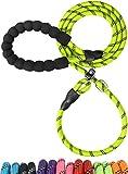 TagME Retrieverleine mit Zugstopp,Reflektierende Seilleine 185 cm Moxonleine,Weicher gepolsterter Griff,12mm für Große Hunde,Grün