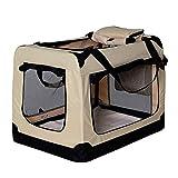 Hundetransportbox Hundetasche Hundebox faltbare Kleintiertasche Farbe Beige Größe M