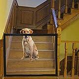 DIKER Hundenetz Magic Gate Dog Sicherheitsbarriere Tragbare Haustier Zaun Sicherheitstor Baby Tür Zaun Isolationfür Hunde Pet Hunde Weg von Küche/Upstairs/Tür (Schwarz)