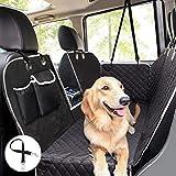 pecute Hundedecke für Auto Rückbank mit Mesh Fenster (146x136cm), Kofferraumdecke für Hunde, Hund Autoschondecke mit Sicherheitsgurt, Rücksitzbezüge für Hunde Schwarz