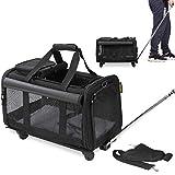 KOPEKS Reisetasche für Haustiere, Tragetasche mit Griff und 4 Rädern zum Transport von Hunden, Katzen, Haustieren und Zubehör, Schwarz