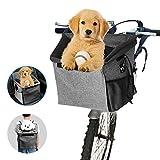 Arkmiido Hunde Fahrradkorb Haustiertasche RucksackHundekorb Fahrrad vorne Atmungsaktiv Netzfenster Faltbar geeignet für alle kleinen Haustiere wie Hunde,Welpen, Katzen