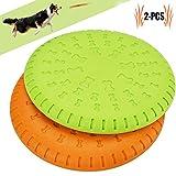 Scheibe Hund, Legendog 2 Stücke Weiches Gummi Hunde Scheiben Durable Training Hundespielzeug Set Interactive Outdoor Spielzeug für Große Hunde 23 CM (Gelb und Grün)