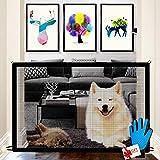 Nifogo Magic Gate für Hunde - Hundebarrieren, Portable Hund Safe Guard, Zusammenklappbar, Einfach überall zu Installieren, für Babys, Hunde & Katzen (Schwarz+Handschuhe)