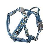 Hurtta Razzle-Dazzle Y-Geschirr für Hunde, Gepolstert, 100% recyceltes Polyester, Blau 45-55 cm