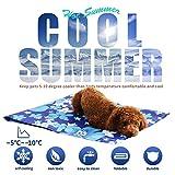 XIAPIA Kühlmatte für Hunde Kühldecke Ungiftig Gel Matte, Druck Aktiviert Selbstkühlende Decke für Welpe Katzen Innen&Draußen im Heißen Sommmer Blau (XL(70x90 cm), Eisblume)