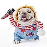 FayTun Tödliche Puppe, Hundekostüm, Halloween-Kostüme für Hunde, verstellbar, Cosplay-Kostüm, lustig, tödlich, Puppe, Perücke, Mops, Party, Kleidung, Weihnachtskostüm (S)