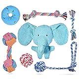 Feeko Squeaky Plüsch Hundeseilspielzeug 7er Pack für Welpen, Bulk mit Quietschern für kleine und mittlere Hunde, süßes Welpen-Kauspielzeug für Welpen-Beißspielzeug, langlebig, sicher