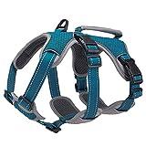 BELPRO Mehrzweck-Hundegeschirr, ausbruchsicher, kein Ziehen, reflektierend, verstellbare Weste mit strapazierfähigem Griff, Hundegeschirr für große/aktive Hunde(Blau, S)
