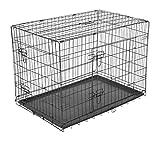 PawHut Hundekäfig Transportkäfig Drahtkäfig Hundebox Transportbox Reisebox mit 2 Türen Schwarz 76x53x57 cm