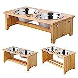 FOREYY erhöhte Hundeschüsseln für Katzen und Hunde, 2 Schüsseln aus Edelstahl, mit Bambus-Halter und rutschfesten Füßen (Small - 10 cm high)