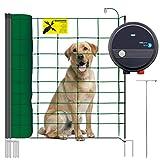 VOSS.PET Hundezaun Set, 50m Elektrozaun Weidezaun Elektronetz Hunde-Set mobil, Einzäunung im Garten, Weidezaungerät fenci M09, 108cm 14 Pfähle 2 Spitzen grün