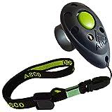 ASCO Premium Finger Clicker mit elastischer Handschlaufe für Clickertraining, Hunde Katzen Pferde Profi-Clicker, Hundetraining Klicker schwarz AC01FA