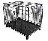Simply Maison M | Hundekäfig | Transportbox | Drahtkäfig mit 2 Türen, schraubbaren Rollen und Tragegriff | ( 77cm x 48cm x 57cm )