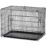 PawHut Hundekäfig Transportkäfig Drahtkäfig Hundebox Transportbox Reisebox mit 2 Türen Schwarz 91x61x67 cm
