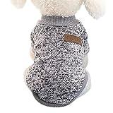 Idepet Haustier Katze Hund Pullover, warme Hund Pullover Cat Kleidung, Fleece Haustier Mantel für Welpen Small Medium Large Dog, Pink & grau (M, Grau)